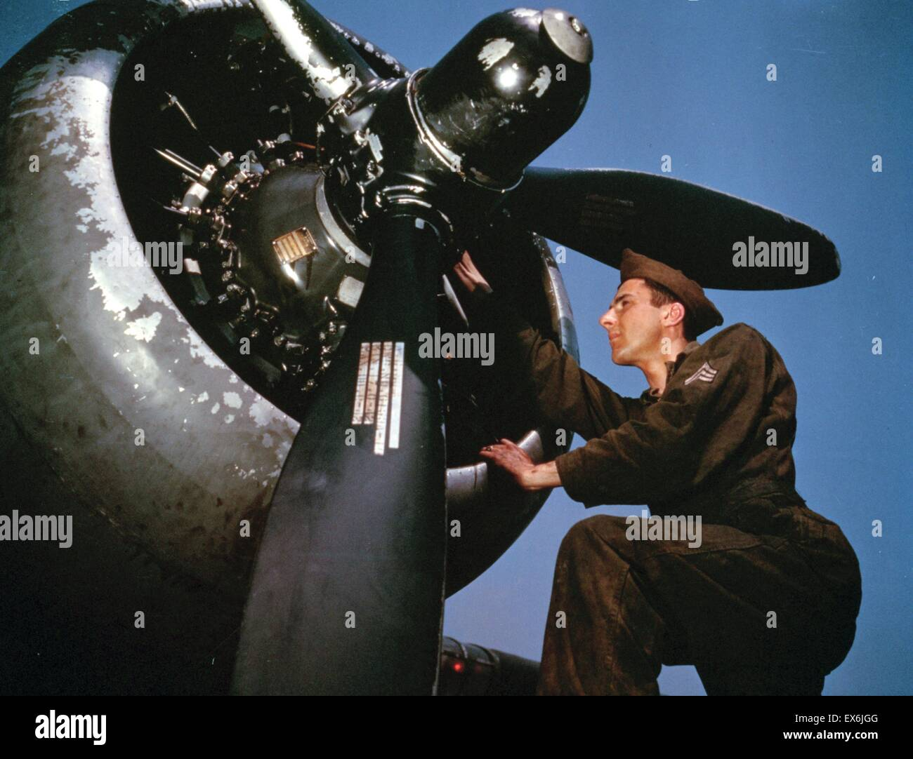 Colour photograph of the servicing of an A-20 bomber, Langley Field, Virginia. Photographed by Alfred T. Palmer. Stock Photo