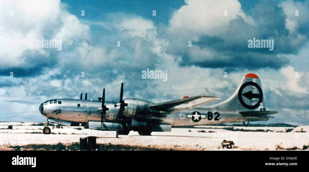 Enola Gay Boeing B-29 on 6 August 1945, during the final stages of World War II, became the first aircraft to dropStock Photo