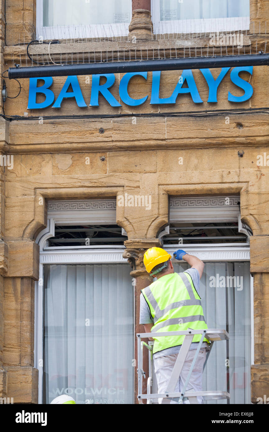 Giving Barclays Bank at Salisbury a facelift in June Stock Photo