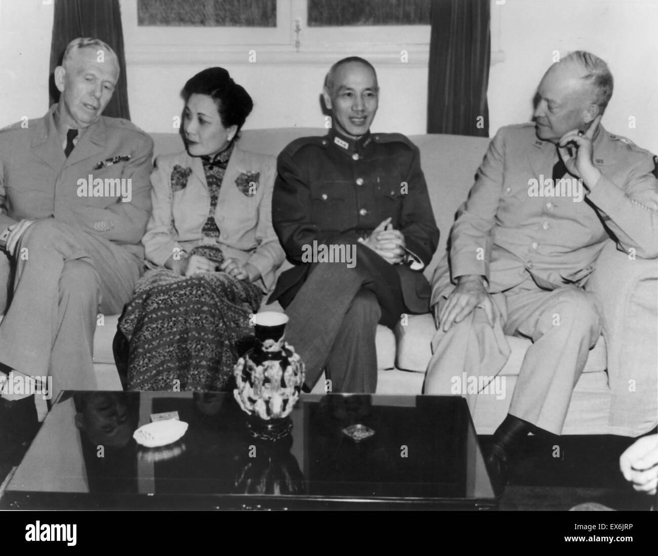 George Marshall, Song Meiling, Chiang Kai-shek, and Dwight Eisenhower, circa 1946 - Stock Image
