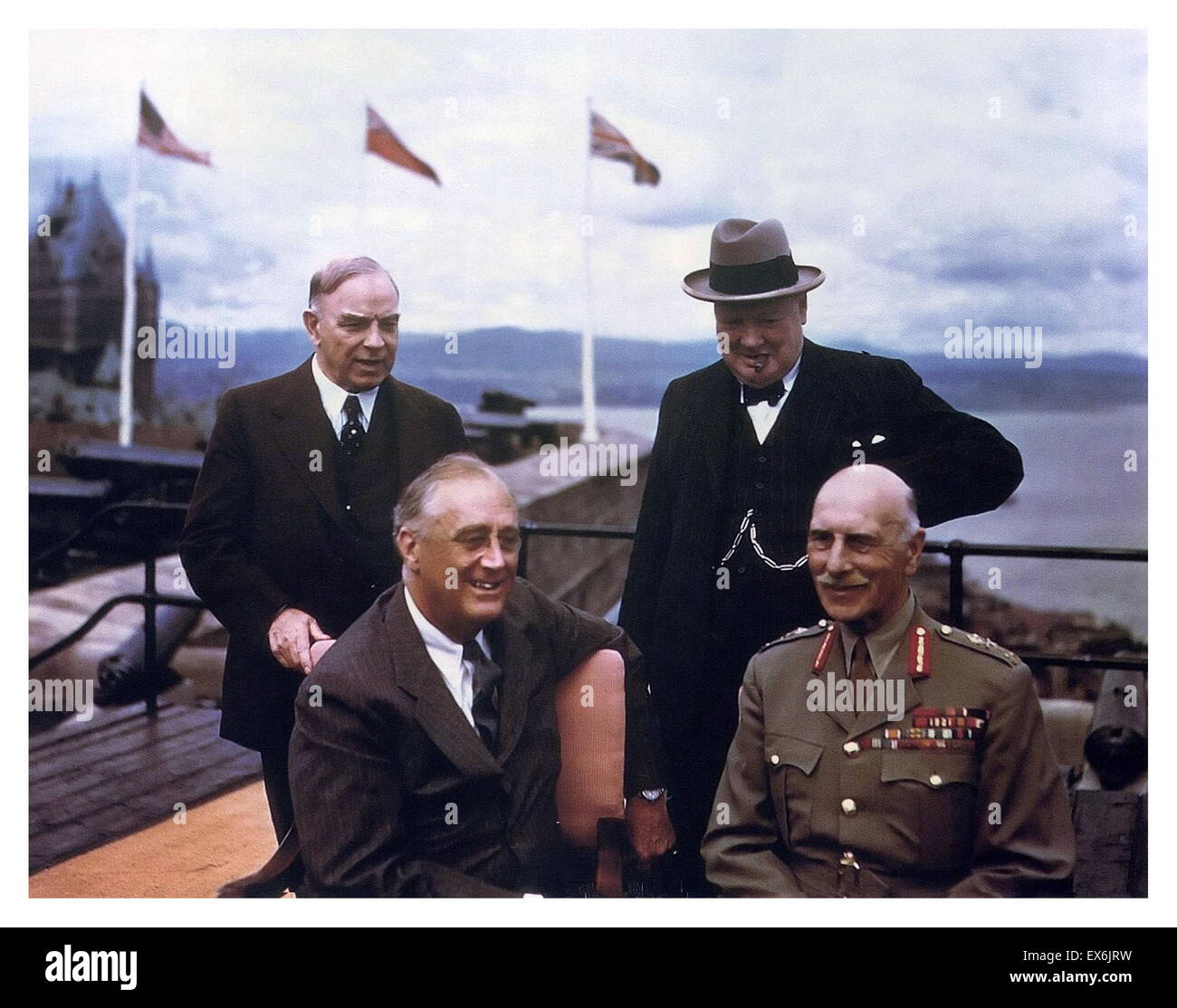 Franklin Roosevelt, the Earl of Athlone, Canadian Prime Minister McKenzie King, British PM Winston Churchill, Quebec, - Stock Image