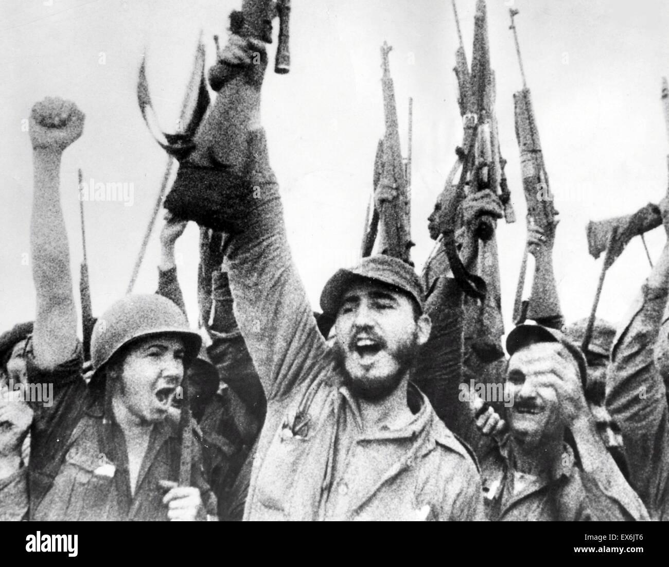 Fidel Castro with fellow revolutionary rebels in Cuba 1959 - Stock Image