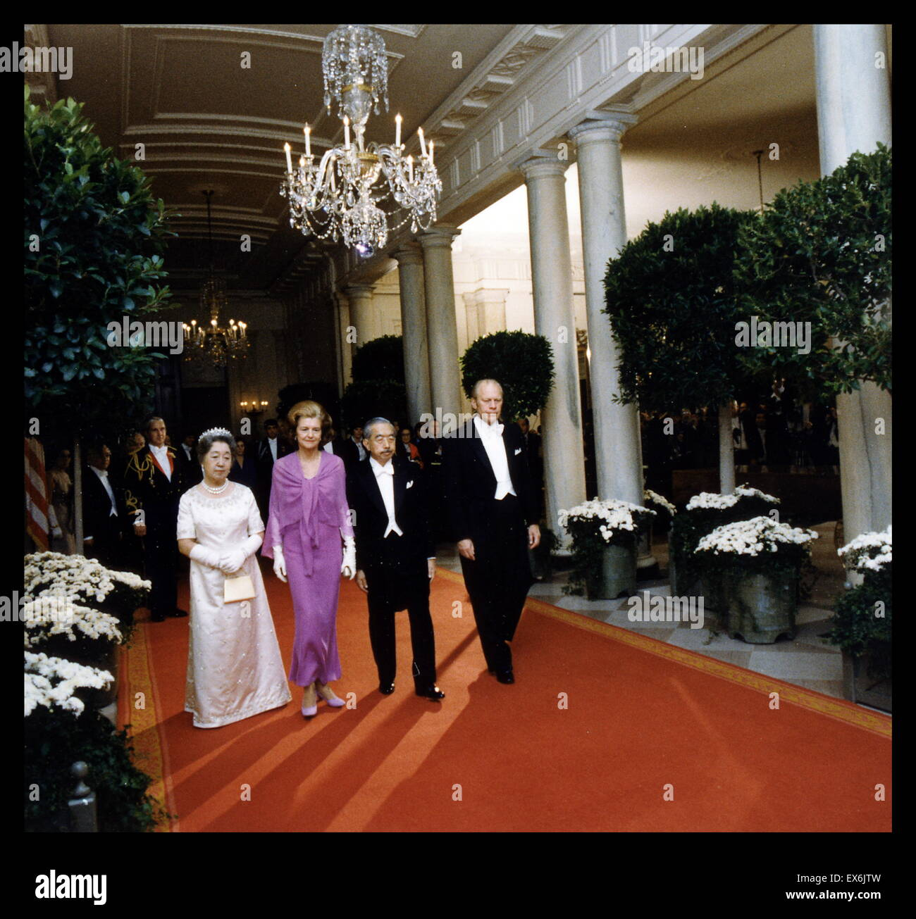Emperor Hirohito of Japan with Empress Nagako visit President Gerald Ford and his wife Betty in Washington DC 1975 - Stock Image