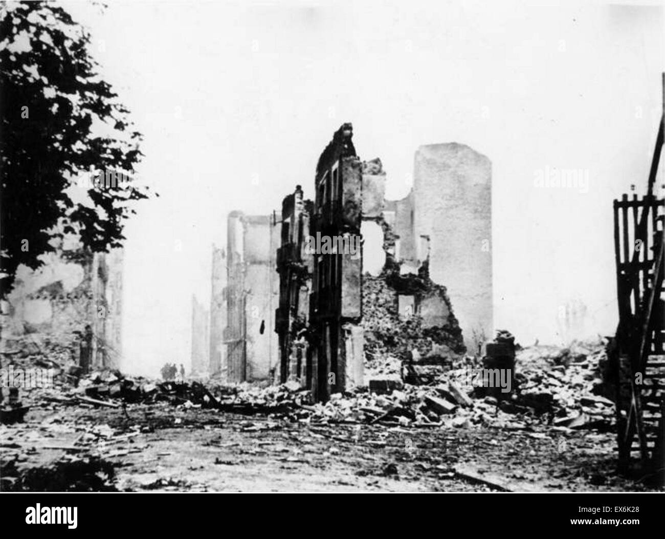 Spanish Civil War: The ruins of Guernica after bombing by the German Condor legion Aircraft 1937 - Stock Image