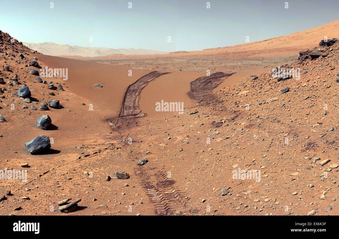Martian Rover Curiosity sent this view of Martian Dune After Crossing It 2014 - Stock Image
