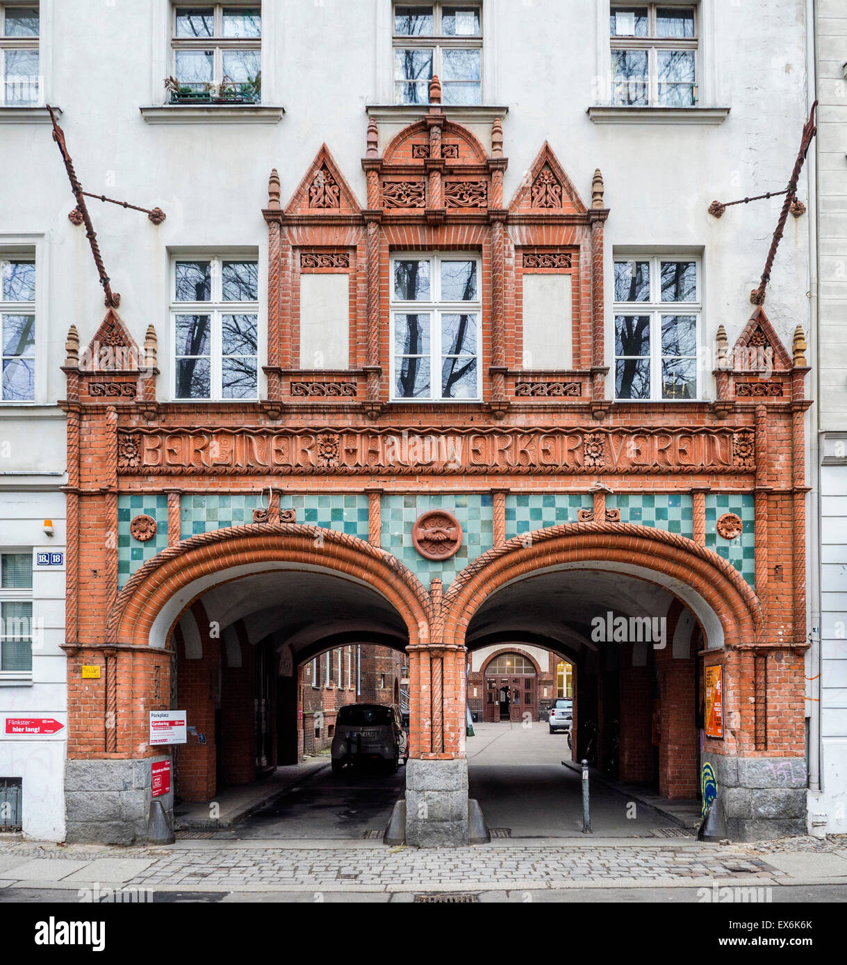 Berlin Handwerkers Verein, Artisans' Association House, elaborate main entrance of historic guild building in - Stock Image