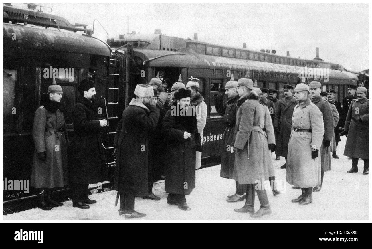 Treaty of Brest-Litovsk, January 1918. World war one; Officers from the staff of Field Marshall von Hindenburg meet - Stock Image