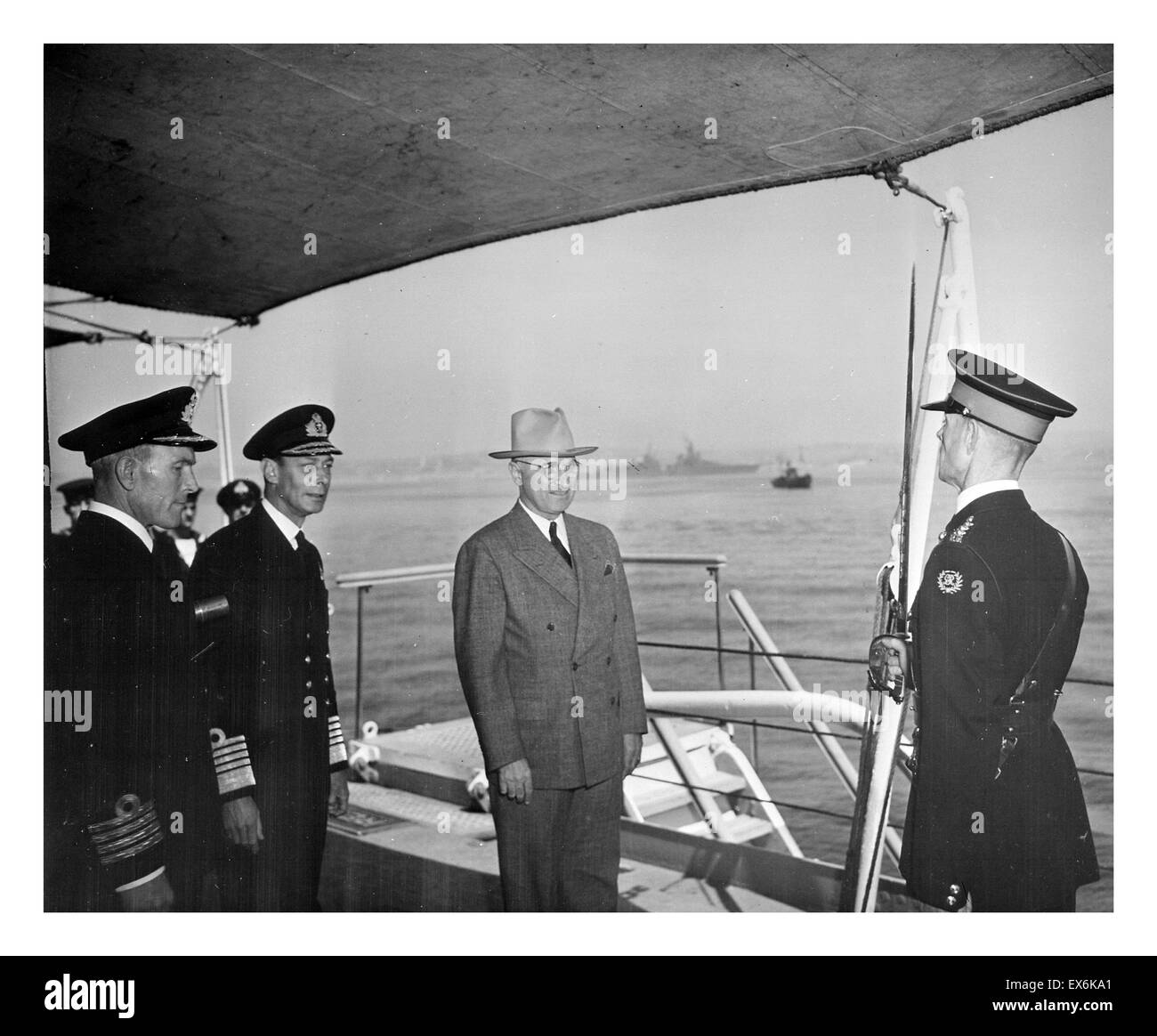 King George VI of the United Kingdom and US President Harry Truman meet on HMS Renown 1945 - Stock Image