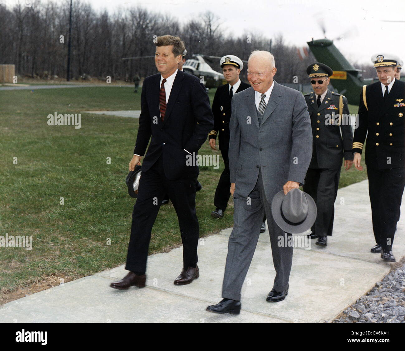 President John Kennedy and Dwight Eisenhower at Camp David, 1962 - Stock Image