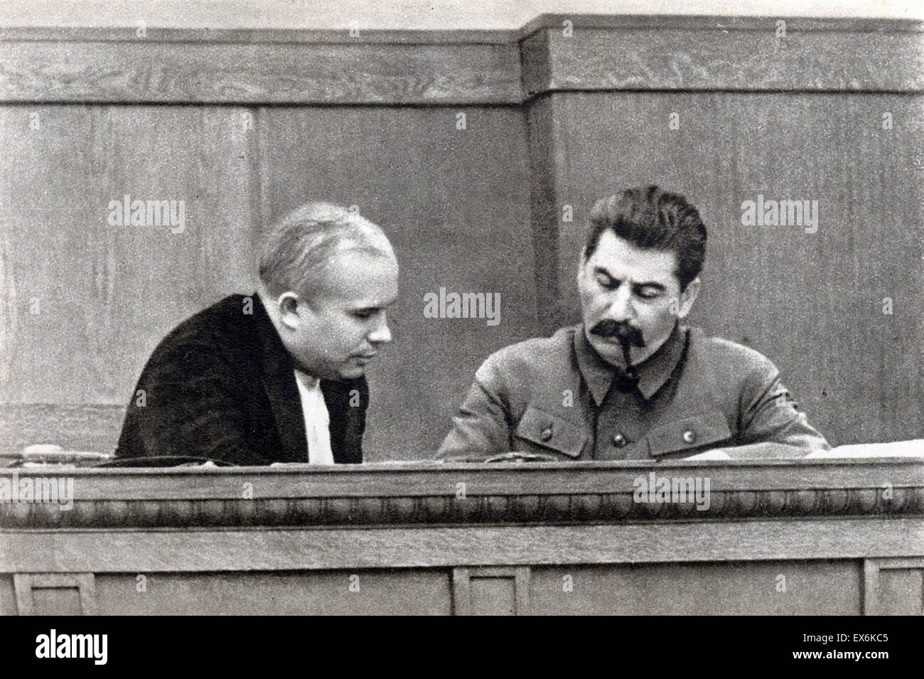 Nikita Khrushchev and Josef Stalin, of Russia 1936 - Stock Image