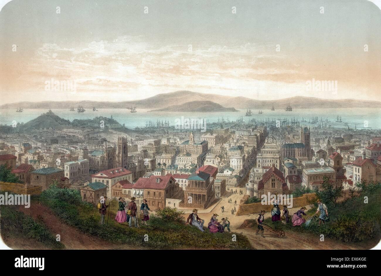 Painting titled 'Vue de San-Francisco Vista de San-Francisco' depicting a view of San-Francisco, with people - Stock Image