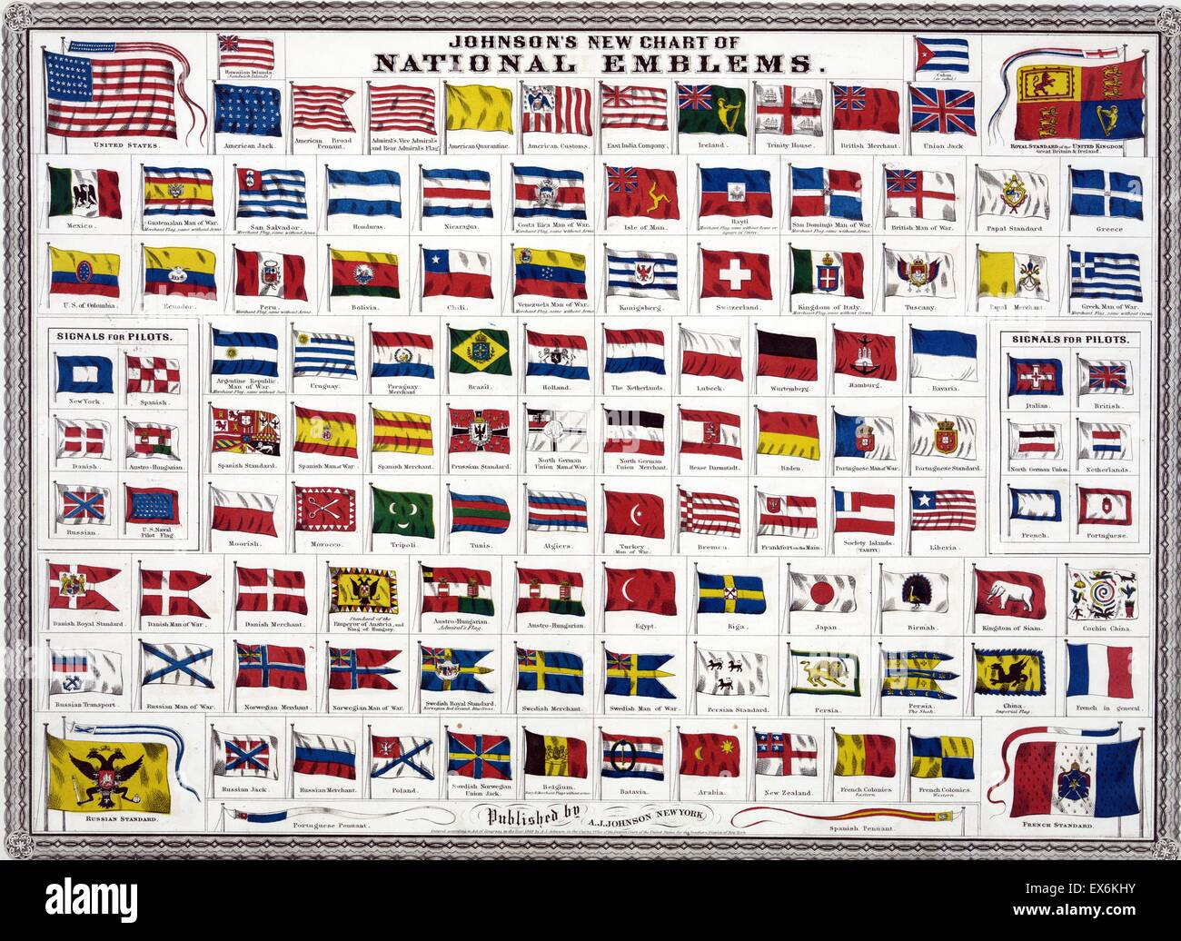 world national and colonial flags 1914 - Stock Image