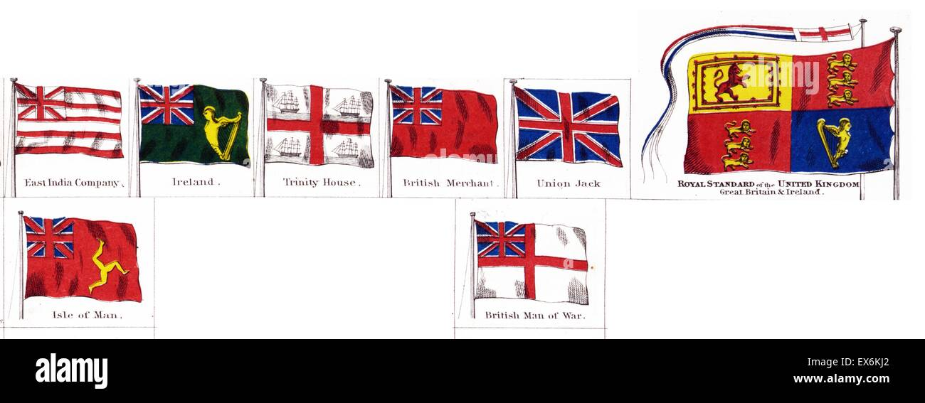 British national and colonial flags 1914 - Stock Image