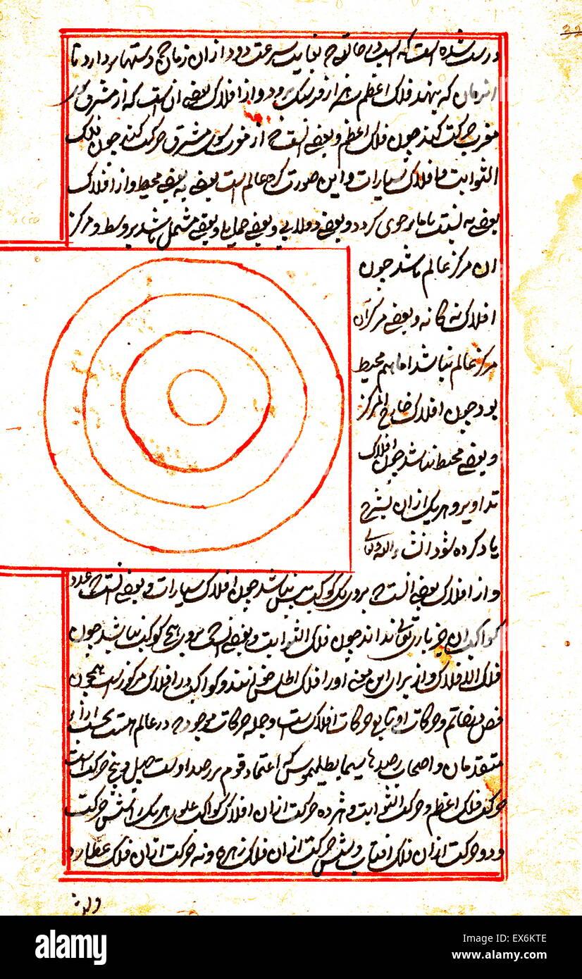 Illustration depicting a Geocentric model of the universe, from 1538 edition, of 'Kit?b-I ?aj?y?b al-makhl?q?t va Stock Photo