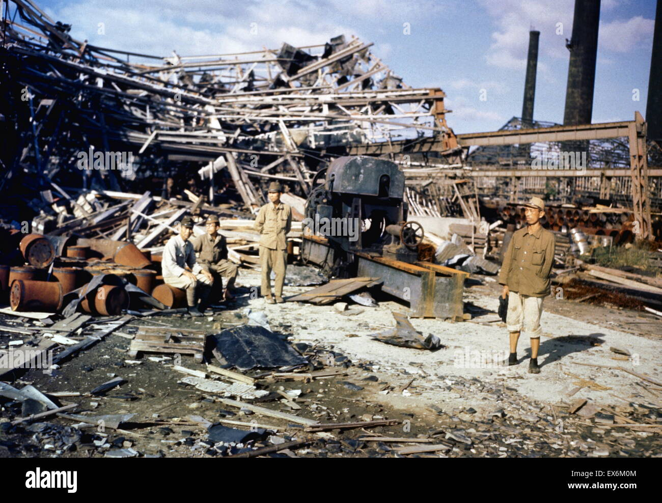 August 1945 damage from the atomic bombing of the Japanese City of Nagasaki at the end of world war two - Stock Image
