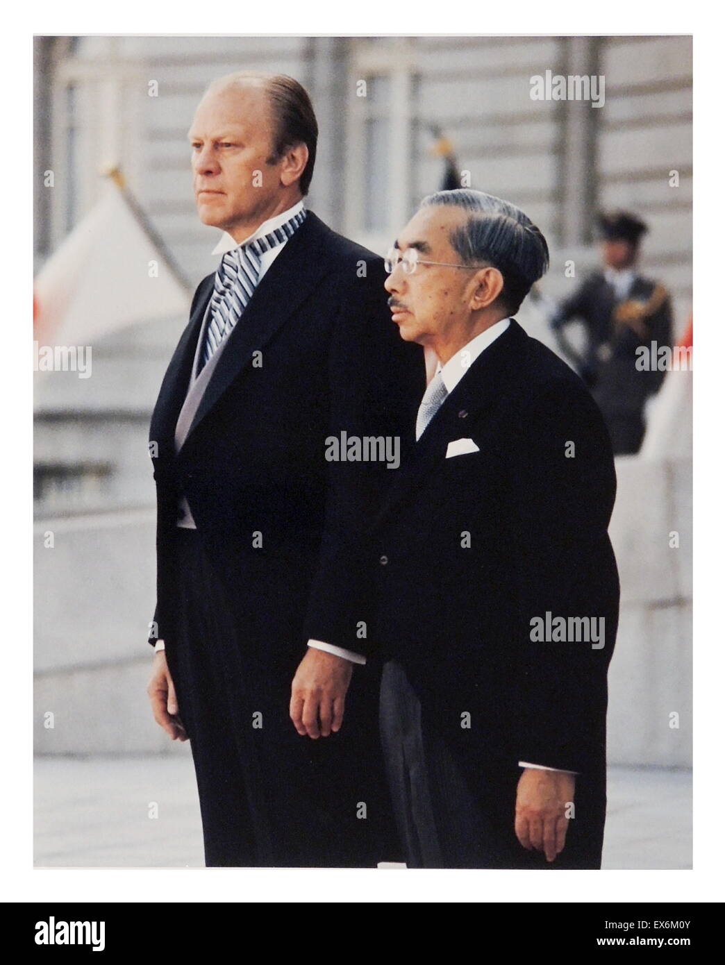 President Gerald Ford (USA) with Japanese emperor Hirohito 1975 - Stock Image