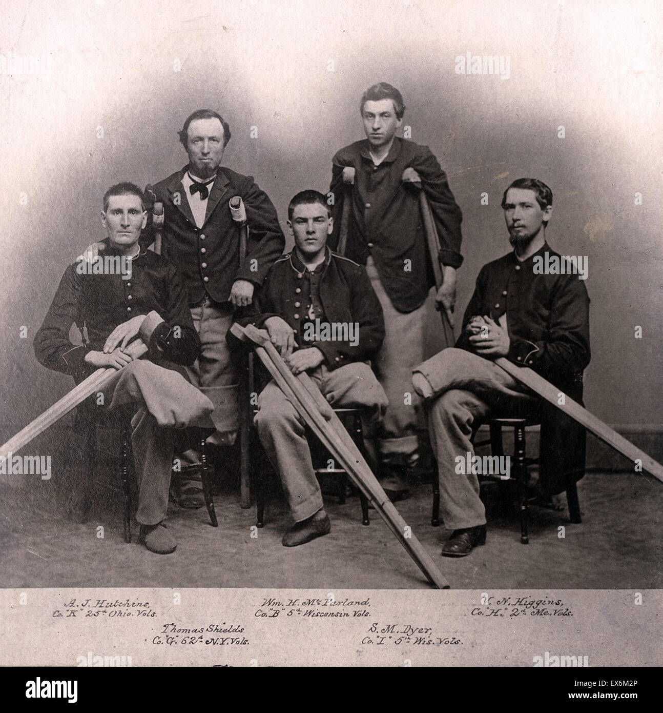 Photograph of American civil war amputees. Dated 1865 - Stock Image