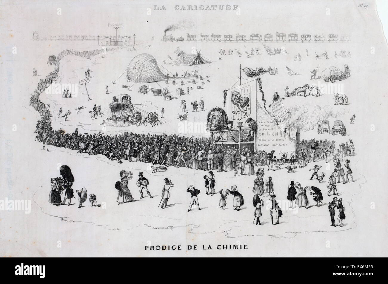 French cartoon shows a long line of people, with more arriving by stagecoach and railroad, at a medicine show where - Stock Image