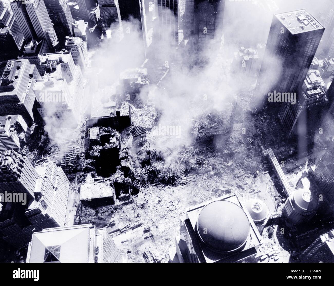 Photograph of an aerial view after the 9/11 attacks on the World Trade Centre Site in New York. Dated 2001 - Stock Image