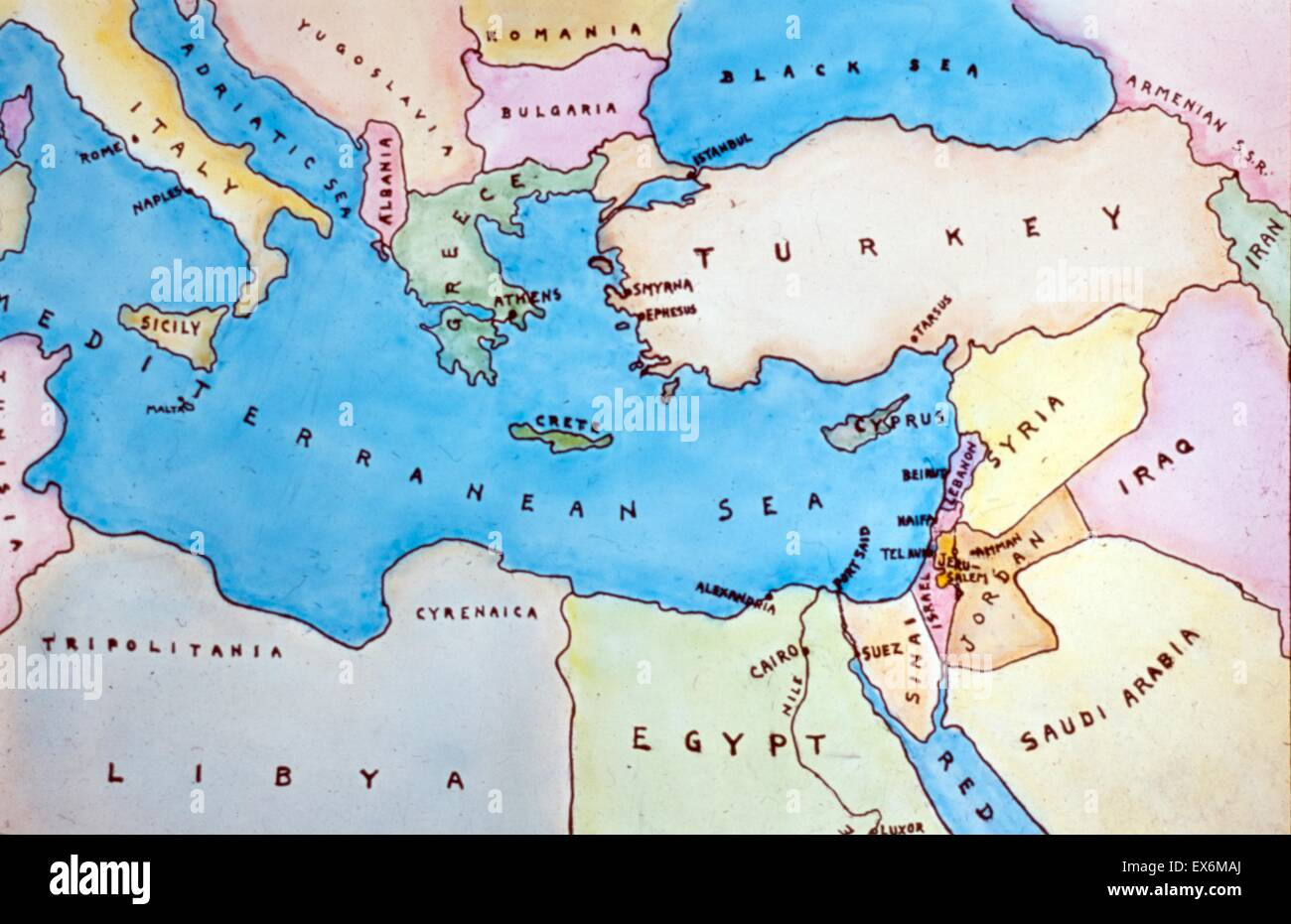 Map of the Eastern Mediterranean and surrounding countries. Dated 1977 - Stock Image