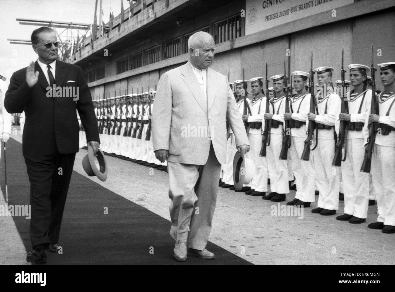 President Tito of Yugoslavia with Russian leader Nikita Khrushchev 1953 - Stock Image