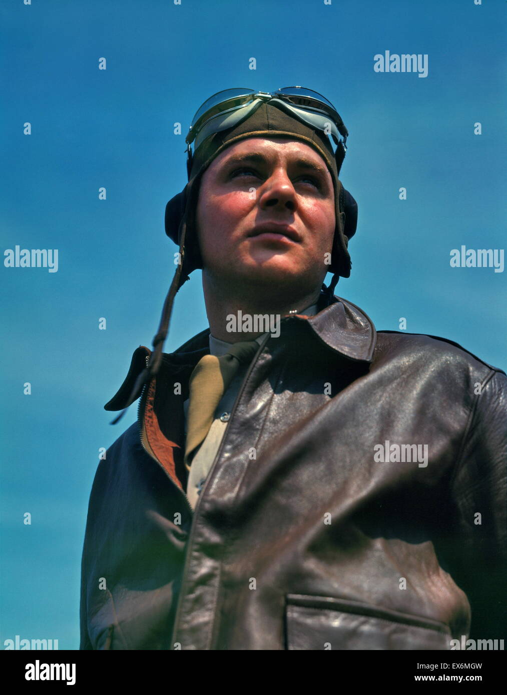 Portrait of an American YB-17 bomber pilot, May 1942 - Stock Image