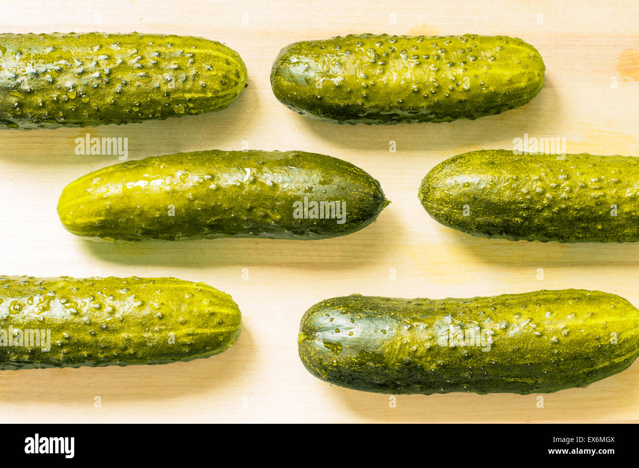 Lightly salted cucumbers, pickles on the board in a row top view - Stock Image