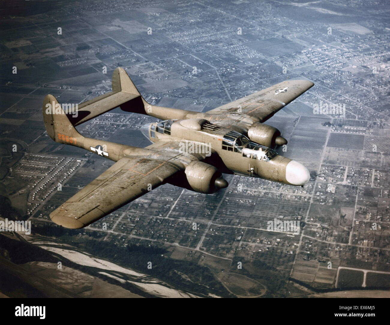 P-61 Black Widow of US Air Force 419th Night Fighter Squadron in flight, circa 1944 - Stock Image