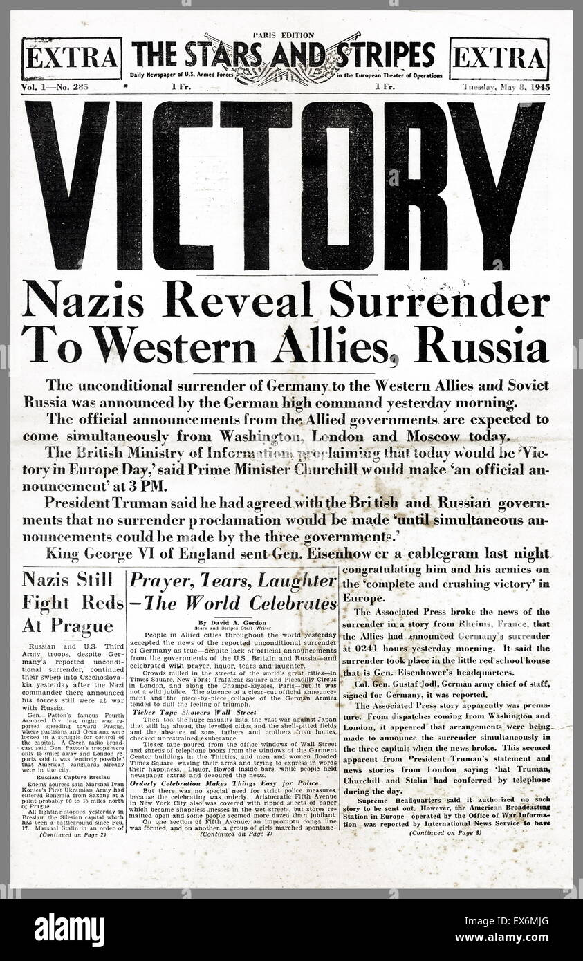 American armed forces newspaper ' the stars and Stripes' headline describing the surrender of Germany' - Stock Image
