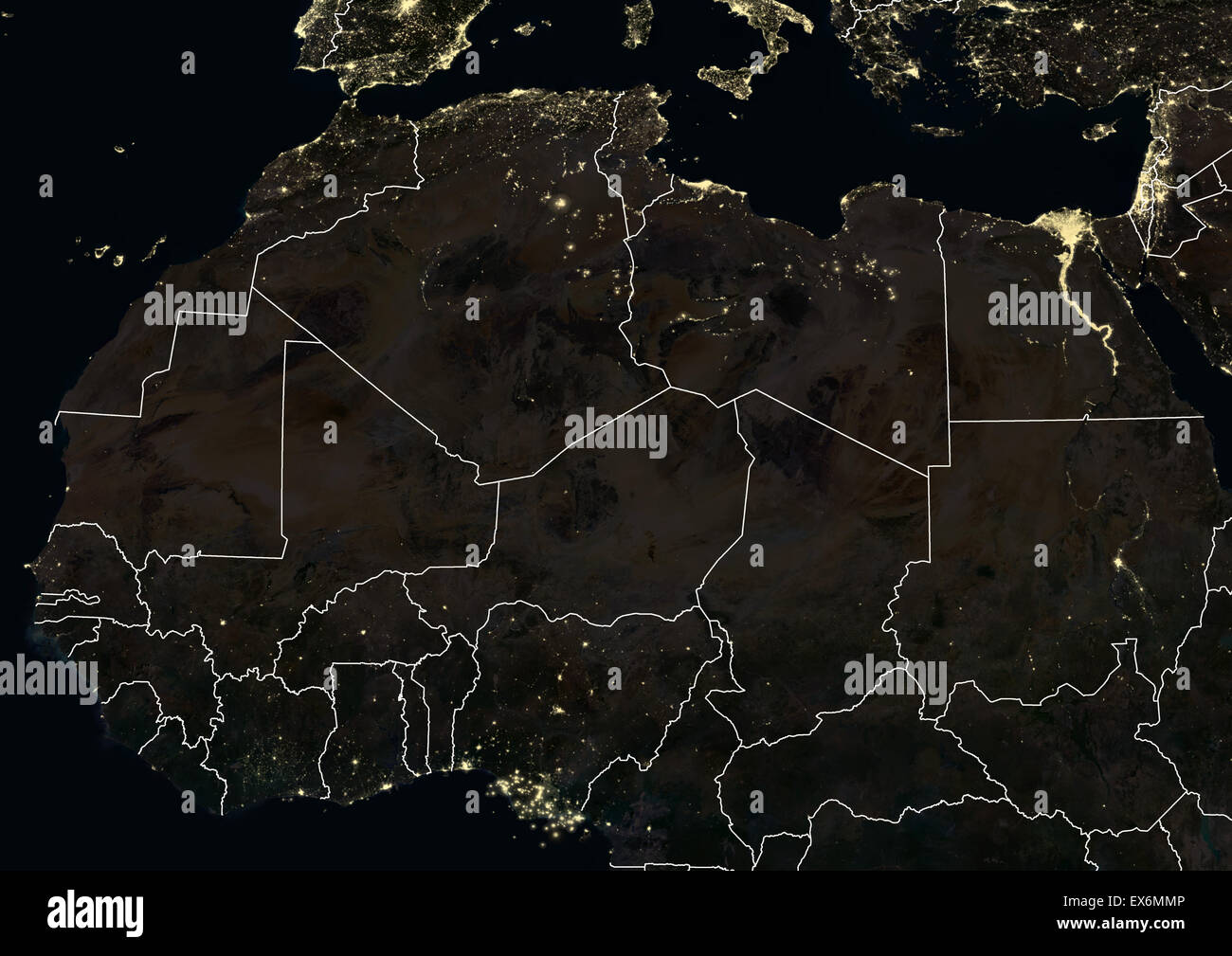 North And West Africa At Night In 2012. This Satellite Image With Country  Borders Shows