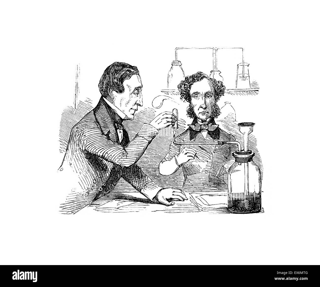Dr. Alfred Swaine Taylor (left) and a colleague, performing the Marsh test on samples taken from the body of John - Stock Image