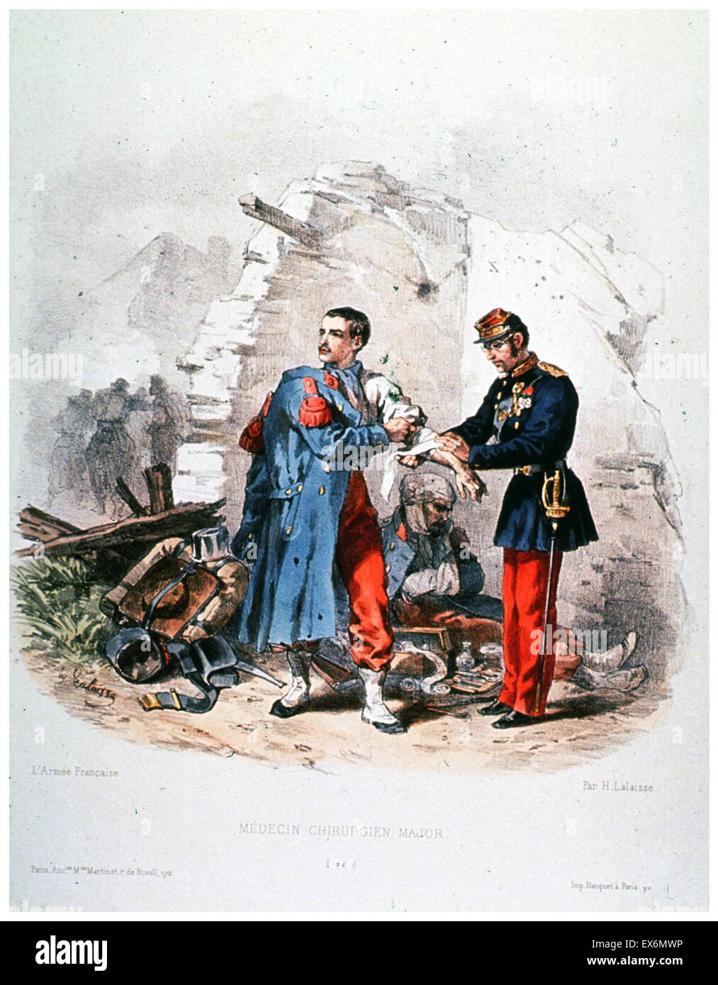 print, entitled 'Médecin Chirurgien Major' (Doctor Surgeon Major), is a hand coloured lithograph made - Stock Image
