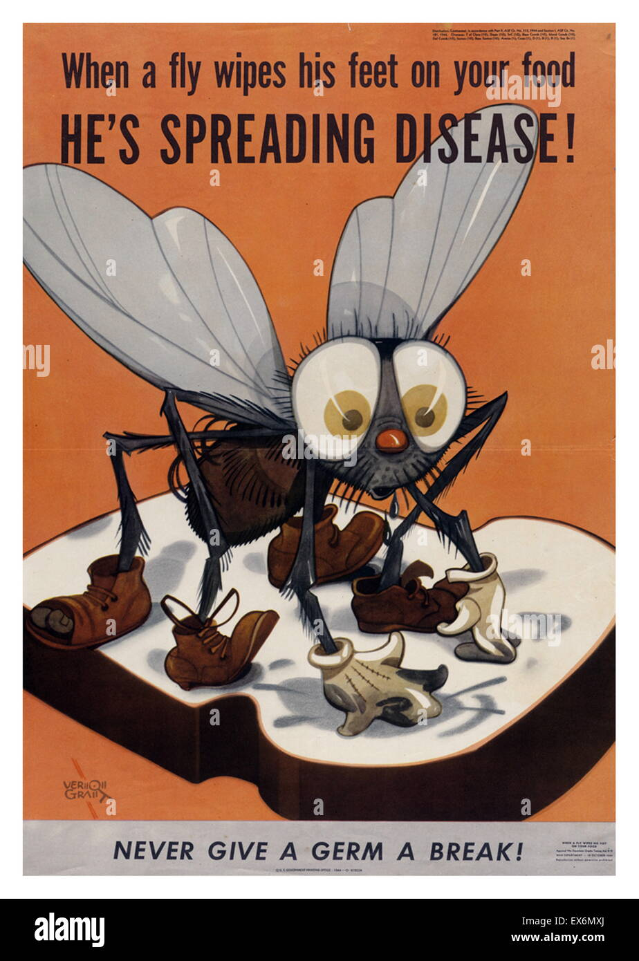 When a fly wipes his feet on your food, he's spreading disease!War Department, U.S. Government Printing Office, - Stock Image