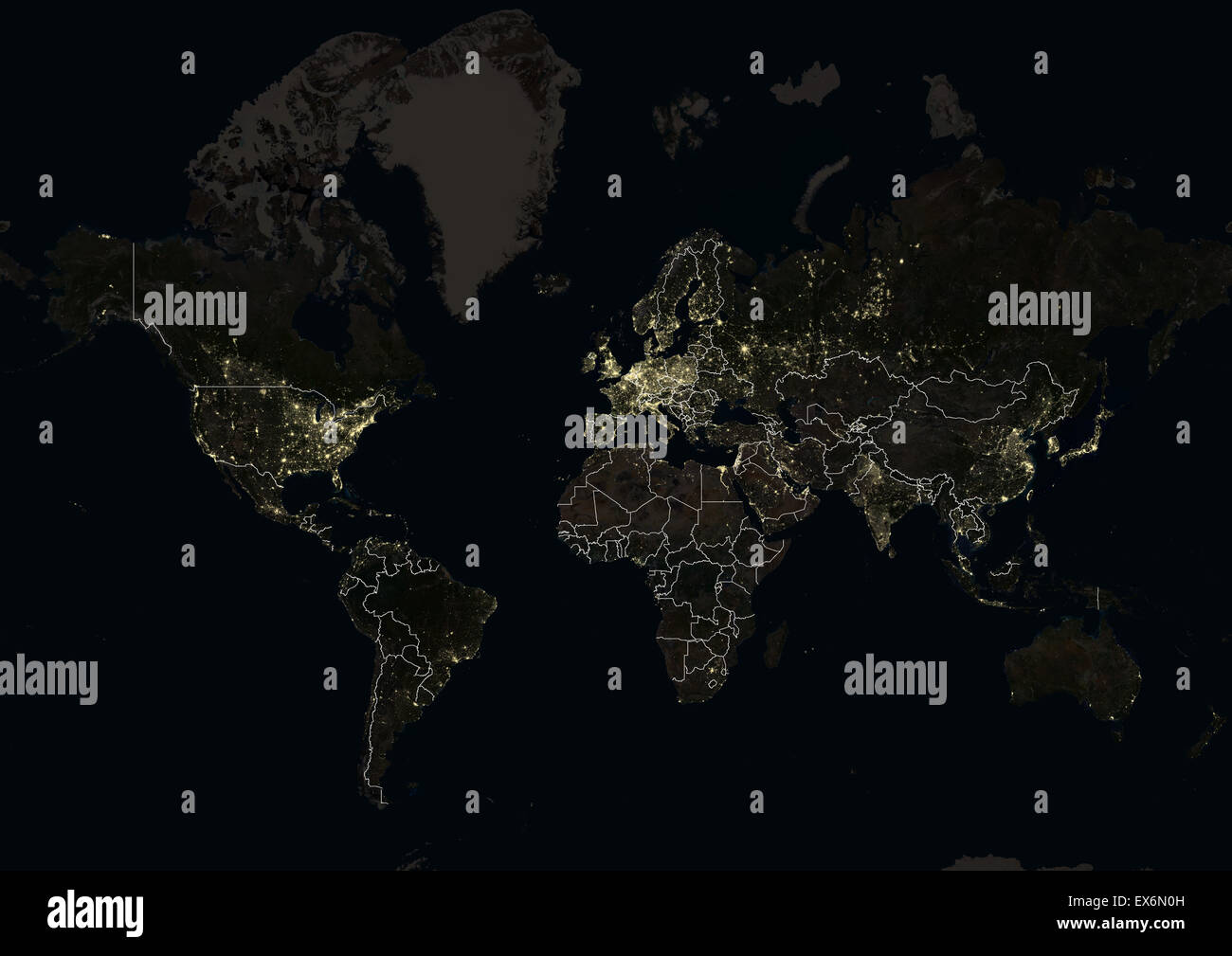 World at night in 2012 showing a world map in mercator projection world at night in 2012 showing a world map in mercator projection this satellite image with country borders shows urban and gumiabroncs Gallery