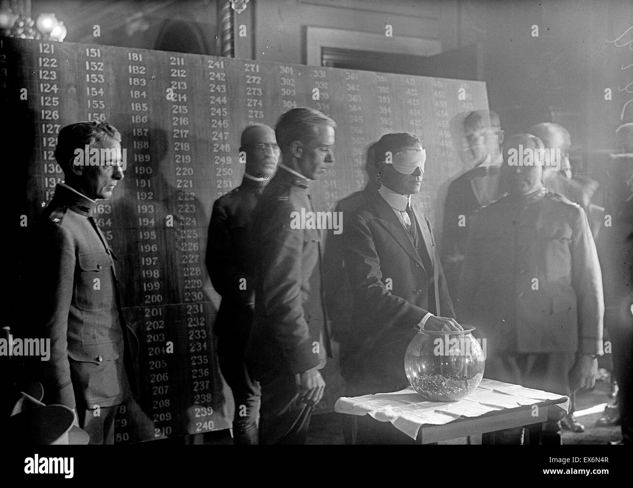 Photograph of a World War One draft lottery, USA. Three registrations occurred between 1917 and 1918. The 1st was - Stock Image