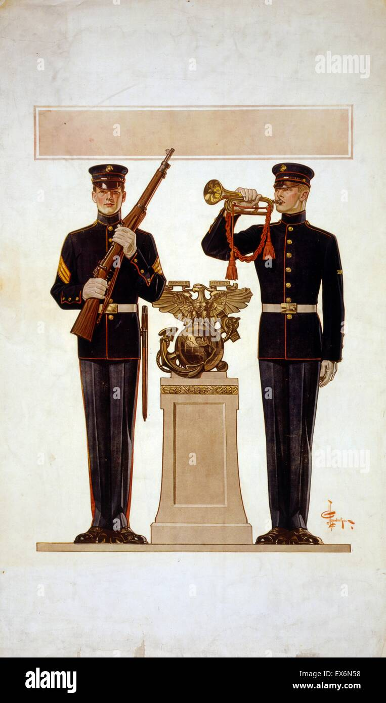 Poster depicting two Marines in dress uniform. One of the soldiers is holding a rifle and the other is holding bugle. - Stock Image