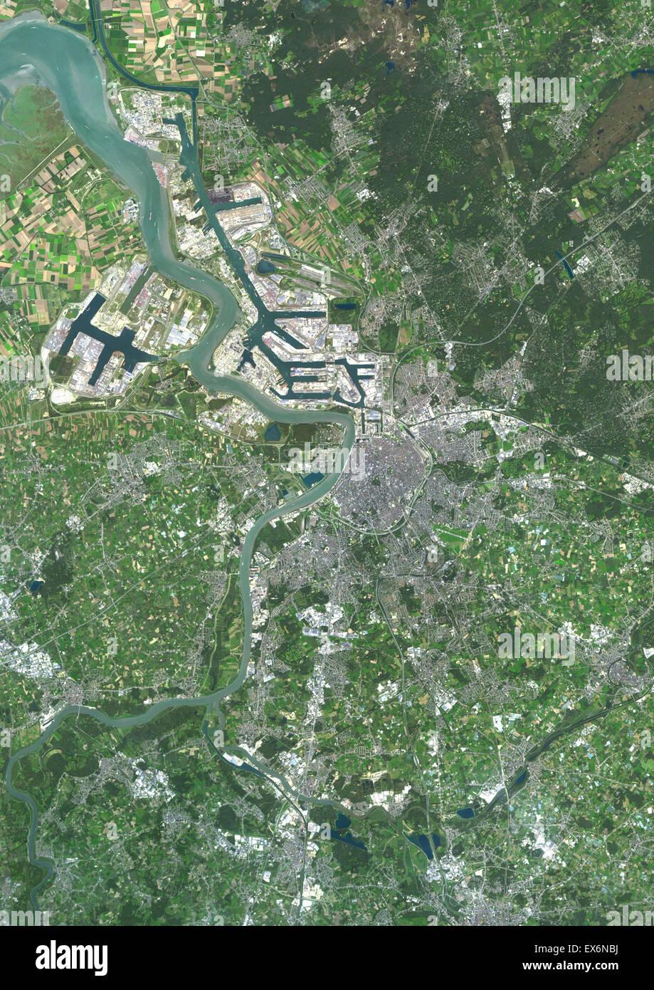 Colour satellite image of Antwerp Belgium Image