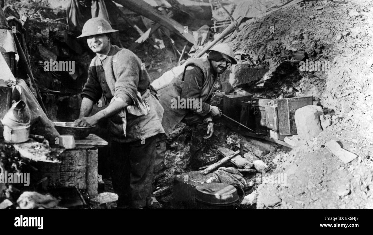 World war one; Canadian cook with his helper at work in a battlefield cookhouse in November 1916 - Stock Image