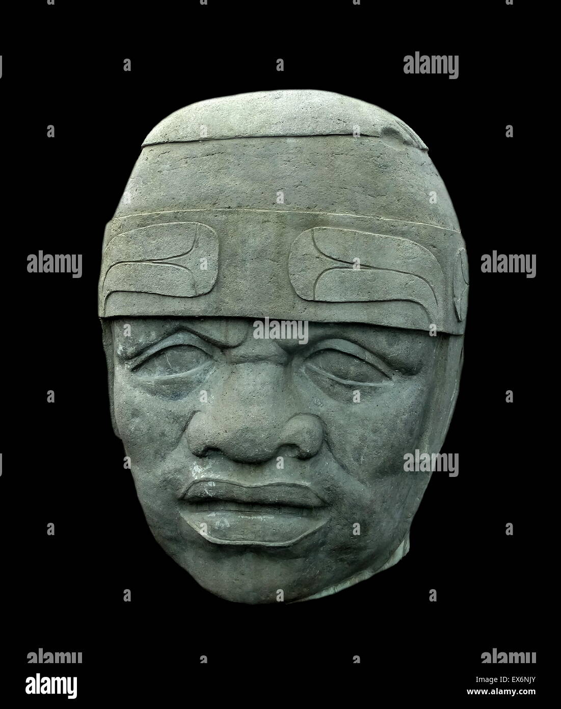 Olmec colossal head No. 8 moulding. Sixteen of these heads were found in the states of Veracruz and Tabasco along - Stock Image