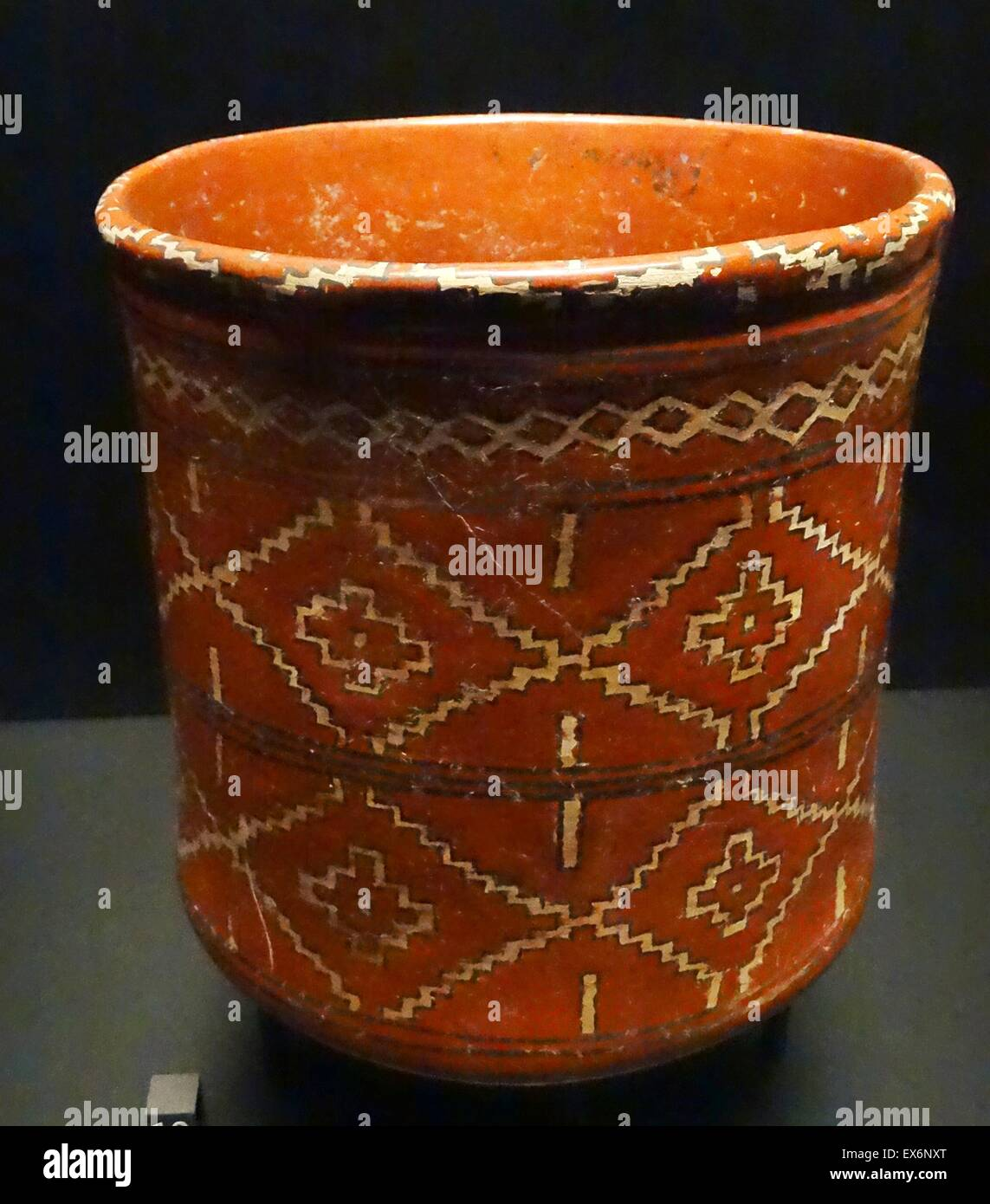 Ceramic vase with a decorative pattern, from the Mexican state of Guanajuato, Mexico - Stock Image