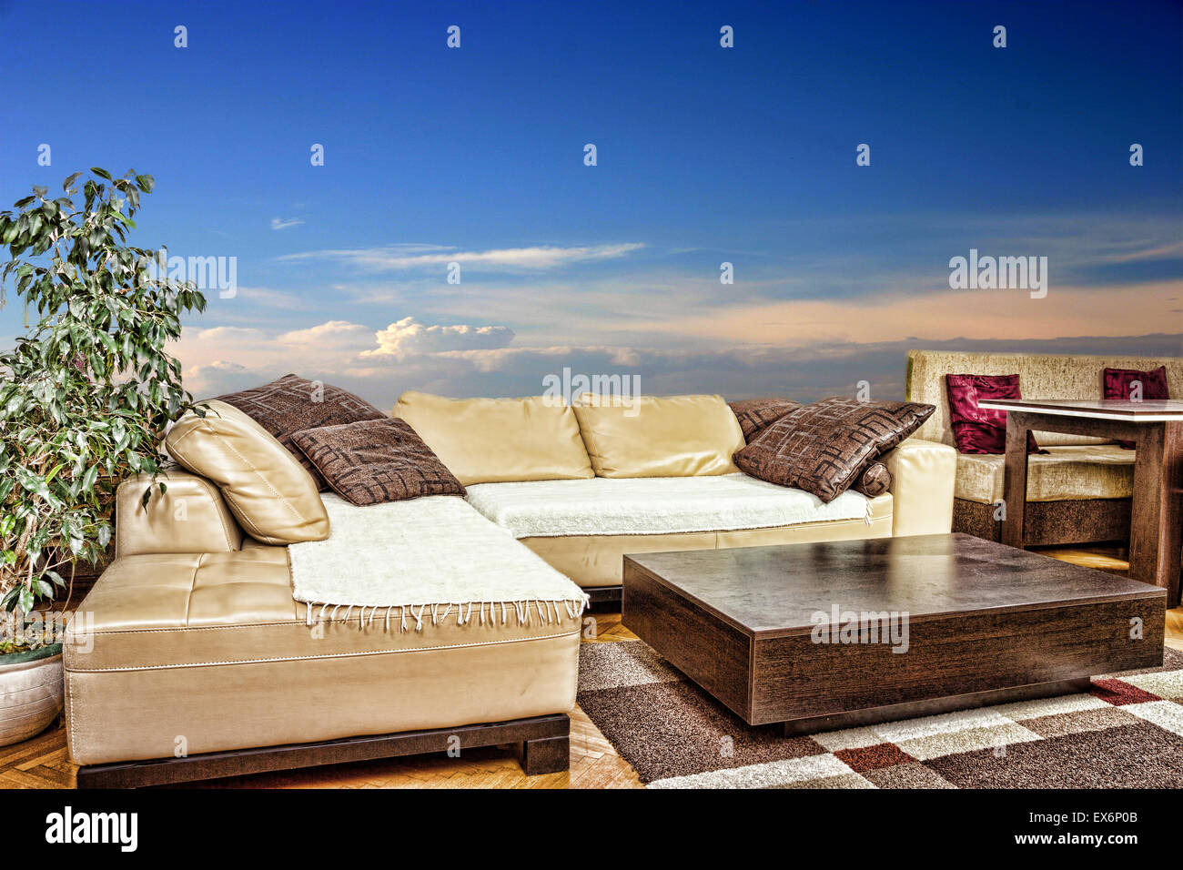 Empty living room with angular or corner sofa and low table empty living room with angular or corner sofa and low table interior in modern and classic design with blue and little red sky watchthetrailerfo