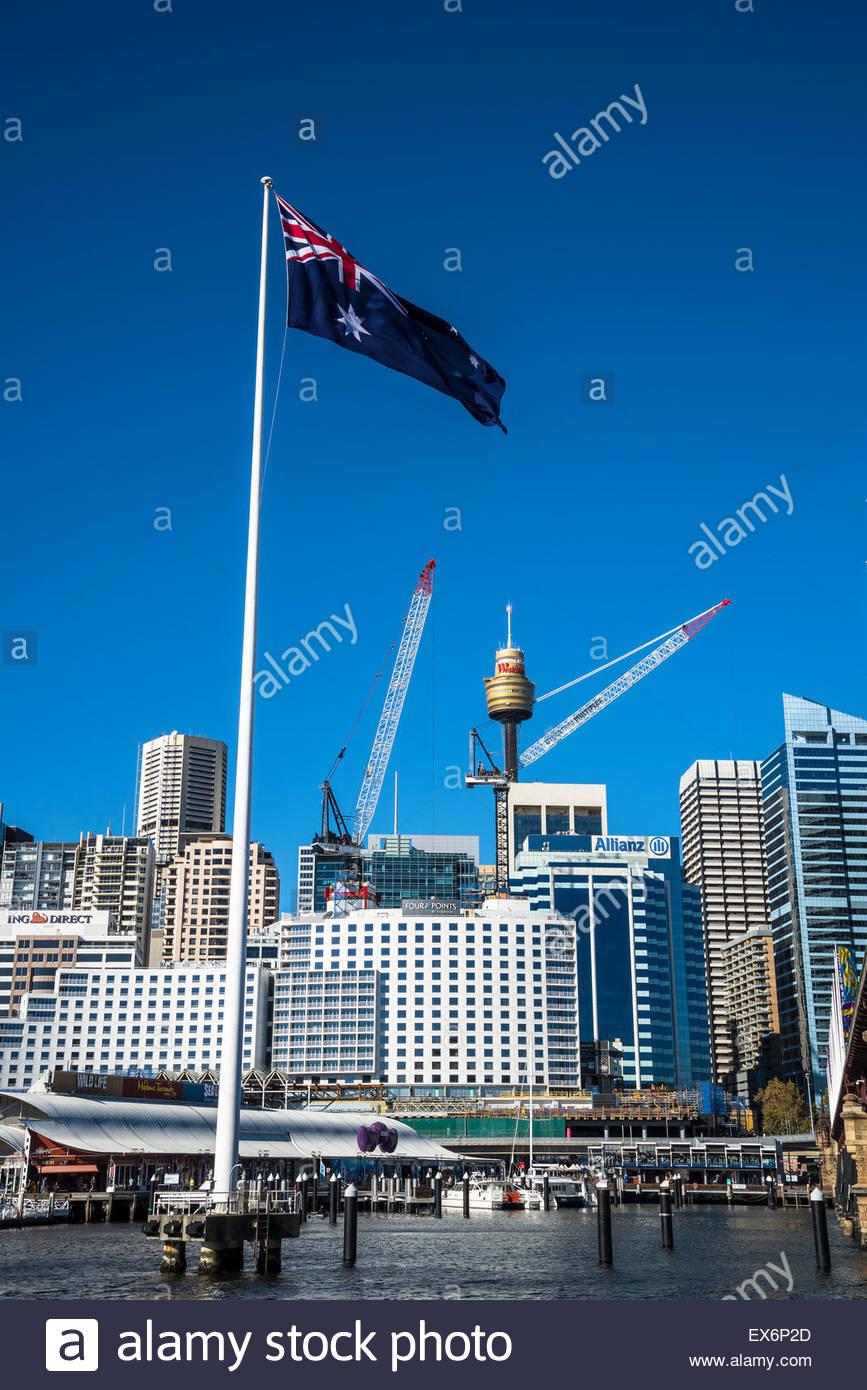 Australian flag, Darling Harbour, Sydney, Australia - Stock Image