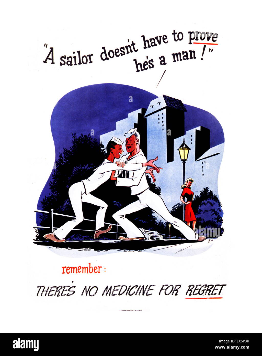 A Sailor Doesn't Have to Prove He's a Man! 1942 World war two, american Public health poster to raise awareness - Stock Image