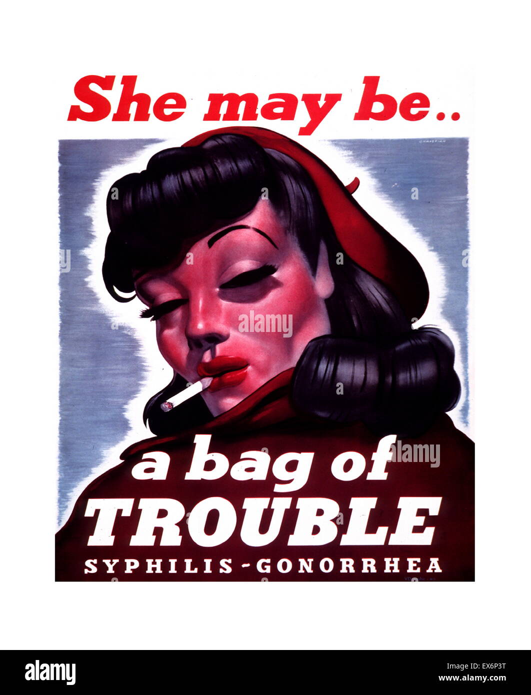 She May Be... A Bag of Trouble 1940 american Public health poster to raise awareness venereal disease - Stock Image