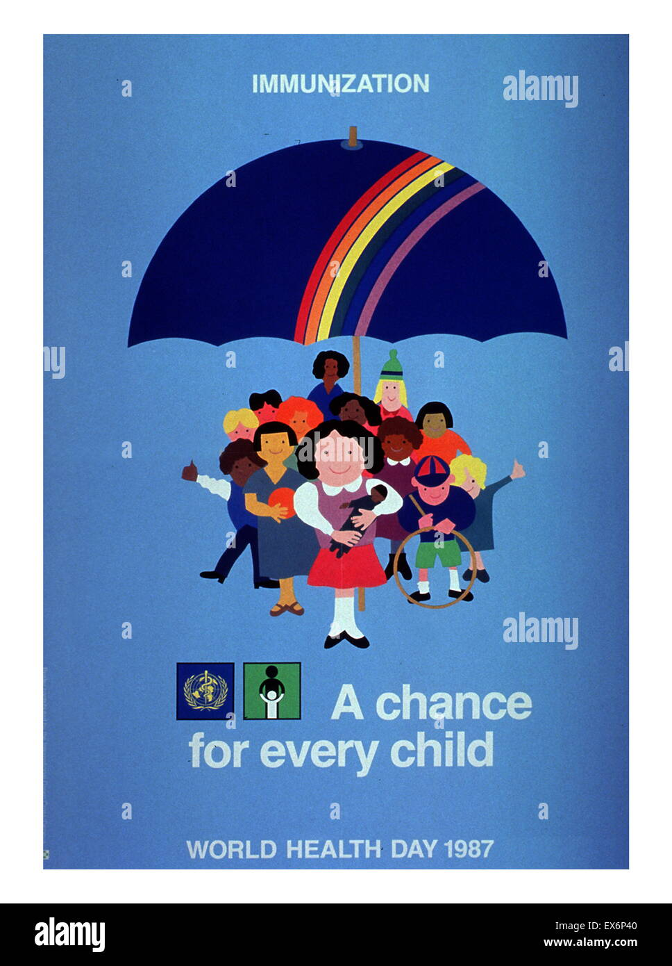 Immunization: A Chance For Every Child 1987 United Nations WHO Public health poster to raise awareness of immunization - Stock Image