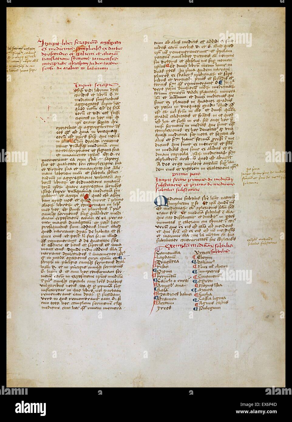 Pseudo Ibn Sarabiyun (9th–10th century), Liber aggreagatus de medicinis simplicibus (Synthesis on simple medicines). - Stock Image