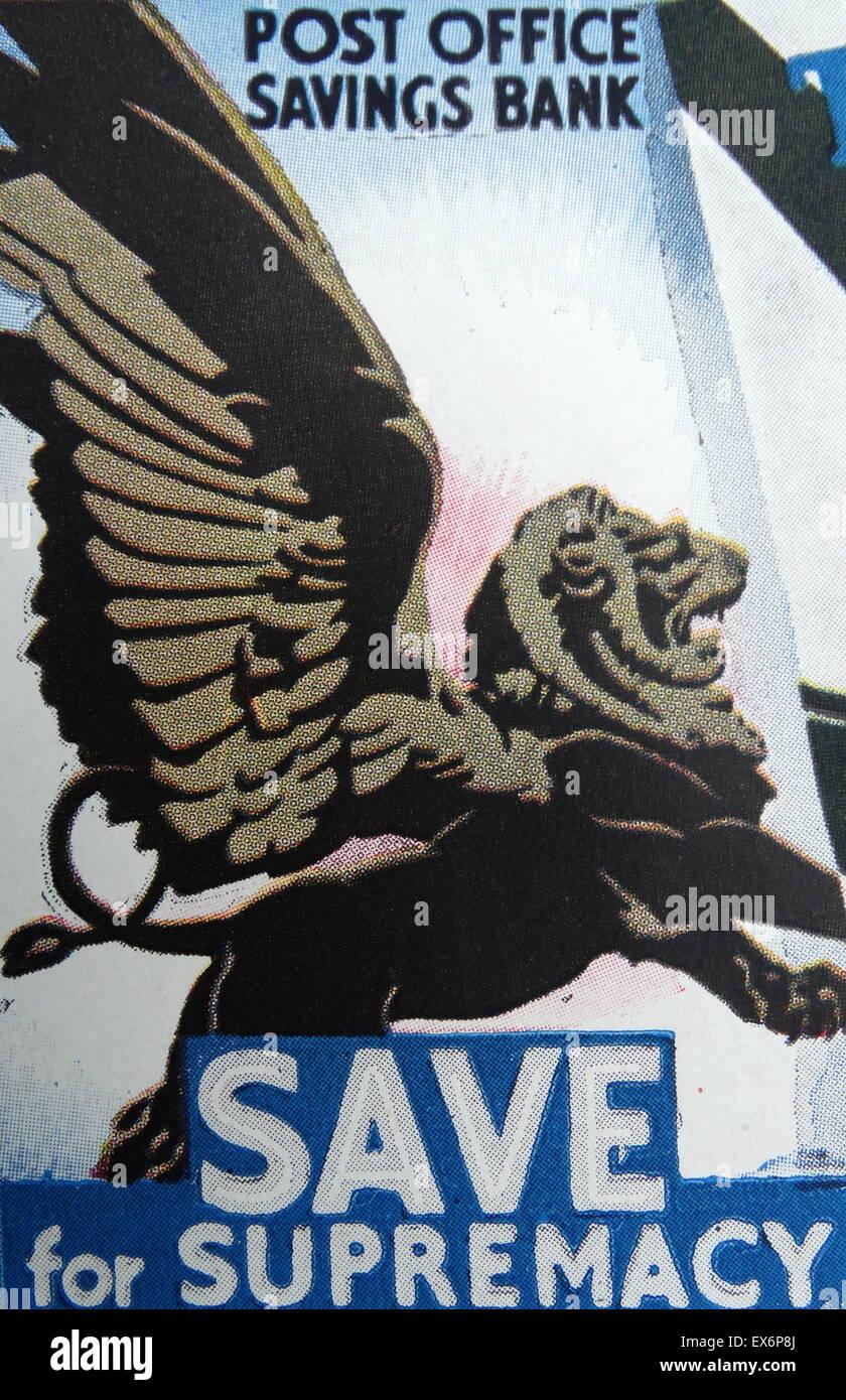 World war Two British propaganda poster for the Post Office Savings Bank for wartime savings - Stock Image