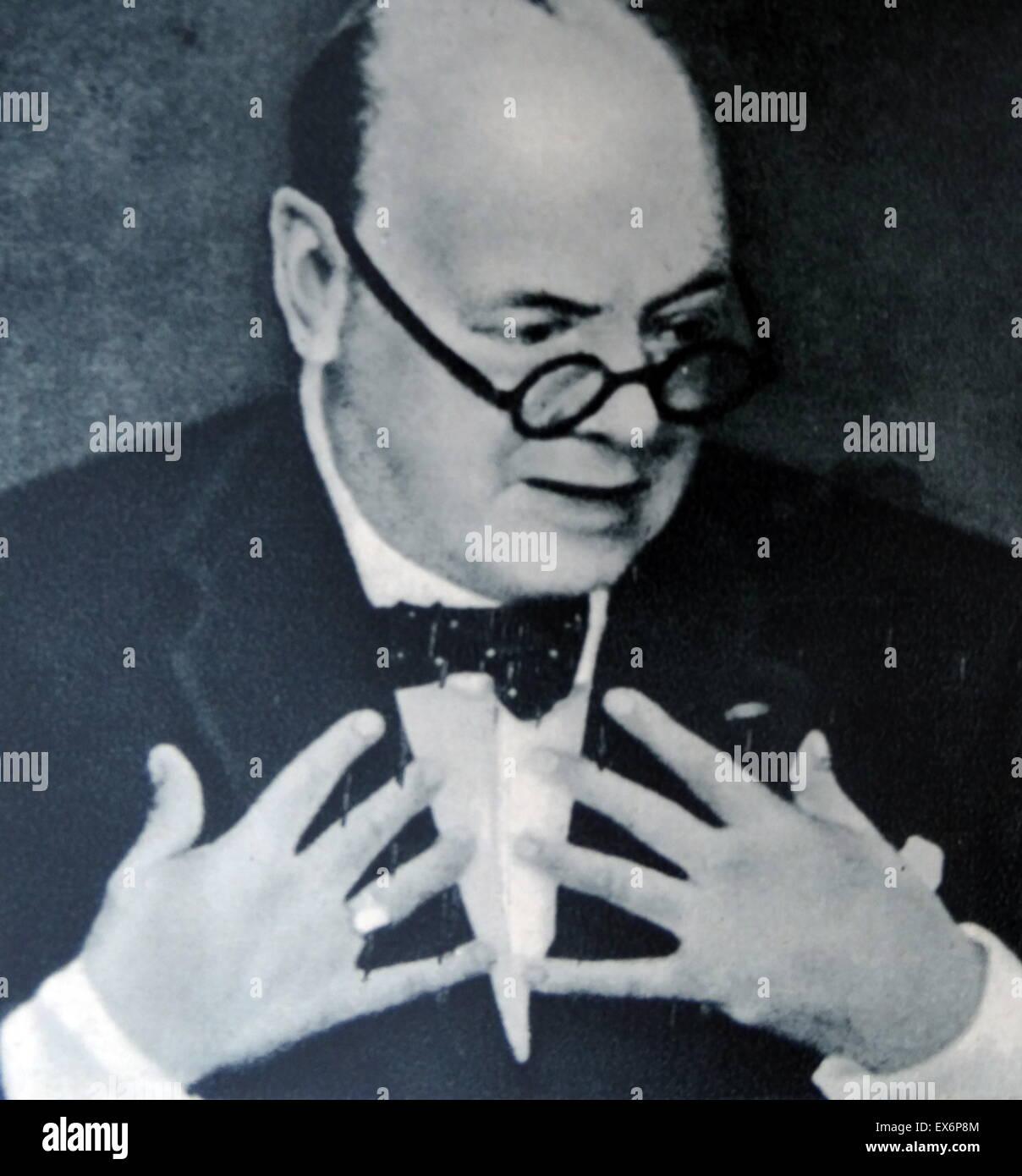 Winston Churchill as British wartime prime minister 1940 - Stock Image