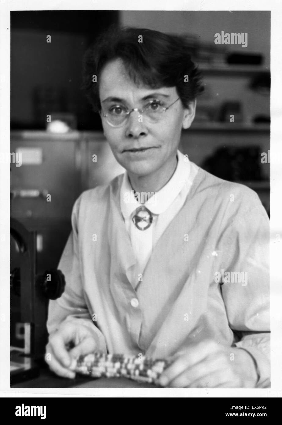 1947 portrait of Barbara McClintock (1902-1992) an American geneticist who won the 1983 Nobel Prize in Physiology - Stock Image