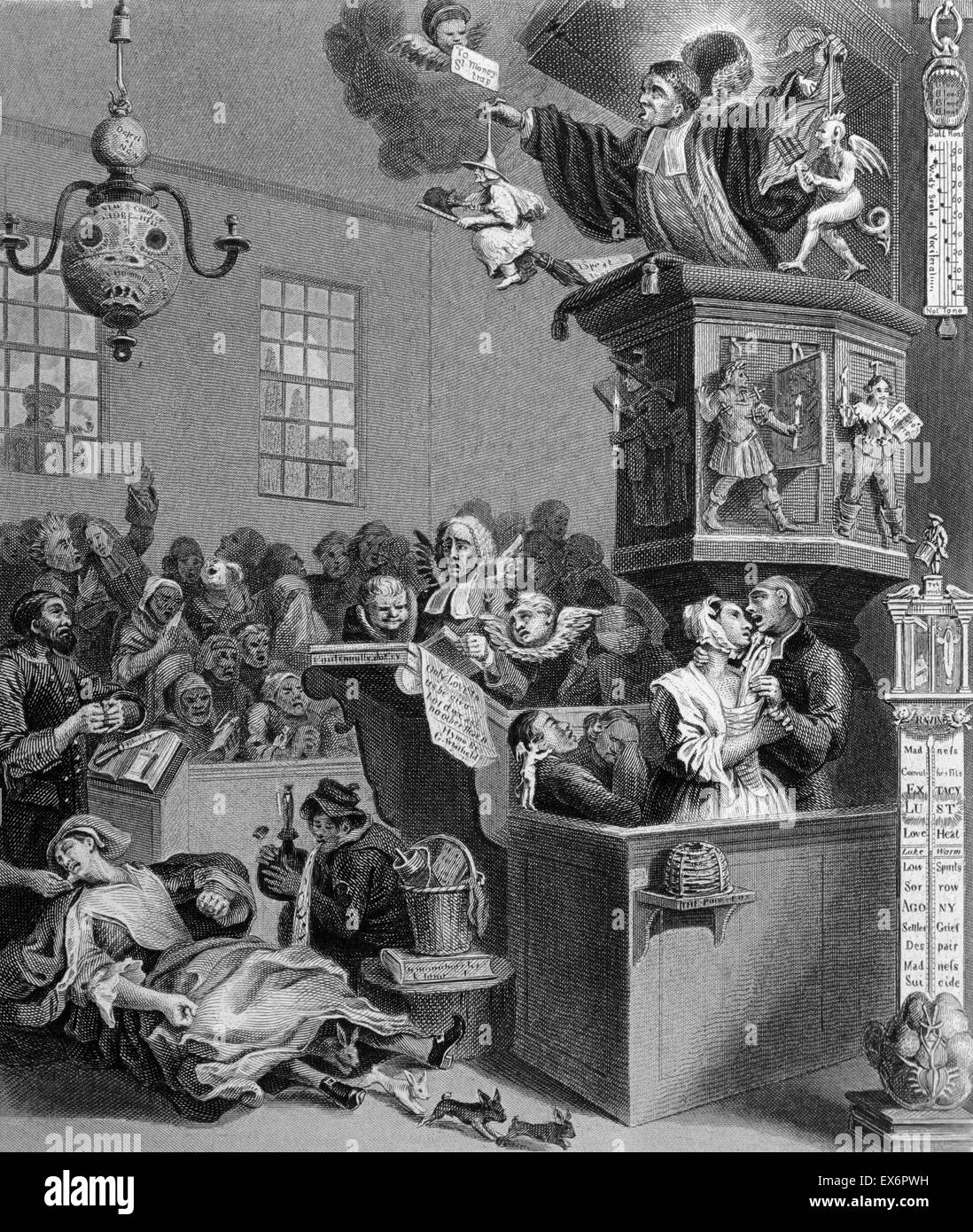 Engraving by British artist & engraver, William Hogarth 1697–1764: Credulity, Superstition and Fanaticism 1762. - Stock Image